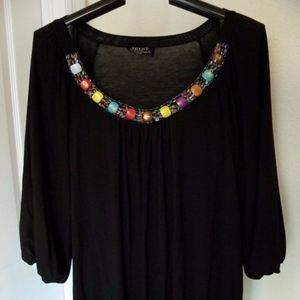 TRYST RARE RAYON/SPANEDX TUNIC LOADED W/BEADS L